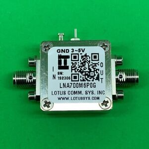 Broadband Ultra Low Noise Amplifier 0 4db Nf 0 7 6ghz 20db Gain 20dbm P1db Sma