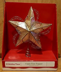 10quot; Capiz Pearl Shell Gold Swirl Metal Star of Bethlehem Christmas Tree Topper