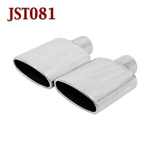 Jst081 Pair 2 25 Stainless Oval Exhaust Tips 2 1 4 Inlet 6 Long