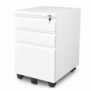 Devaise 3 Drawer Mobile File Cabinet With Lock White