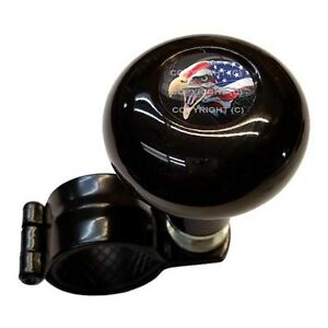 Black Steering Wheel Suicide Spinner Power Handle Knob Car Truck Usa Eagle