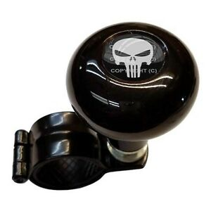 Black Steering Wheel Suicide Spinner Handle Knob Car Truck Punisher Skull Grey B