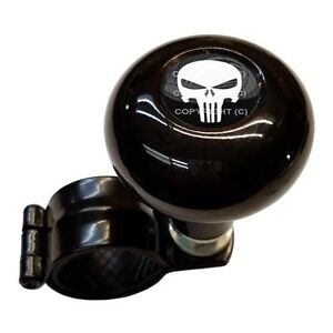Black Steering Wheel Suicide Spinner Handle Knob Car Truck Punisher Skull White