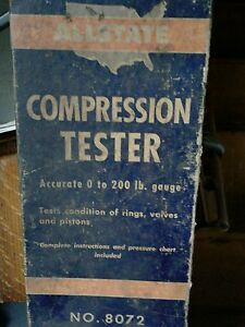 Antique Allstate Compression Tester In Original Box With Instructions 1950 s