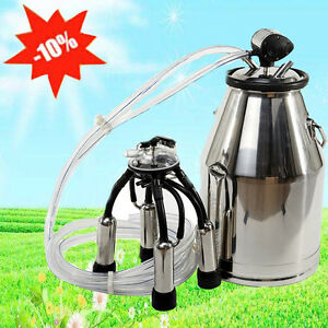 Portable Cow Milker Bucket Tank Milking Machine Barrel Stainless Dairy Farm Best