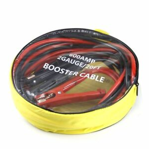 20 Foot Commercial Heavy Duty 2 Gauge Booster Cable Jumping Power Jumper Starter