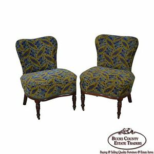 Antique Pair Of Aesthetic Mahogany Lounge Chairs