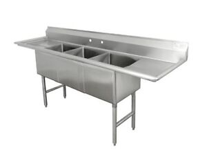2 X Three Compartment Stainless Steel Commercial Sink With Two Drainboards 90