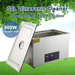 Ultrasonic Cleaner Stainless Steel Cleaning Equipment W Heater Timer 30l New