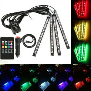 4 12led Full Color Interior Car Under Dash Foot Seat Inside Light Remote Control
