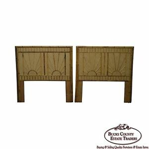Rattan Bamboo Sunburst Pair Of Twin Headboards