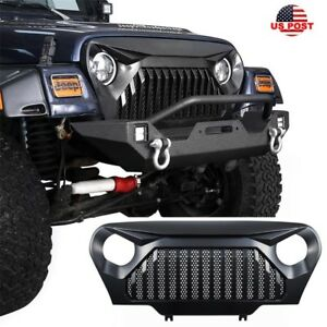 New Upgraded Angry Bird Front Mesh Insert Grill Grille For Jeep Wrangler 97 06