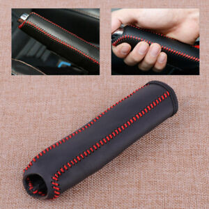 Black Red Car Leather Stitching Hand Brake Cover Fit For Honda Civic 2004 2011