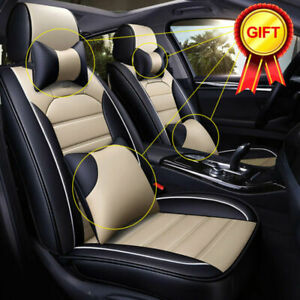 Us Pu Leather Cooling Mesh Full Car Seat Cover 5 Seats Front Rear Cushion Pillow