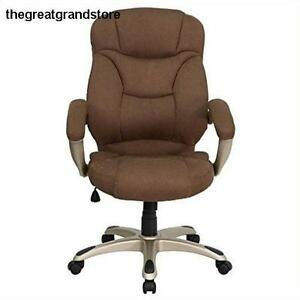 Contemporary Office Chair Furniture High Back Brown Microfiber Upholstered Seat