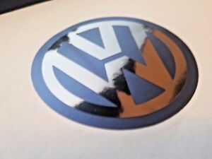 Vw Logo Decal Sticker Satin Blue W Black Chrome Volkswagen Jetta Golf R Passat