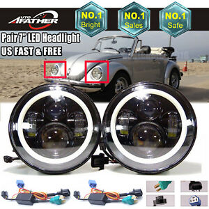 2x 7inch Round Led Headlamp High Low Beam Sealed With Drl For Vw Beetle Classic