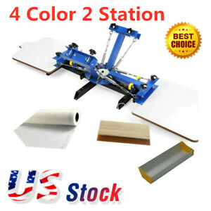 Usa 4 Color 2 Station Silk Screen Printing Machine 4 2 Press Printer Diy