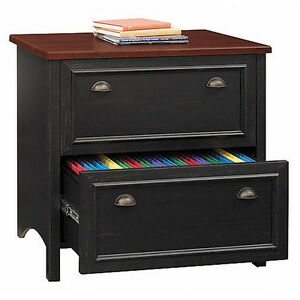 Bush Stanford Lateral File Cabinet Antique Black And Cherry