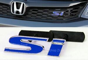 Bolt On 3d 4 X 1 2 Si Blue Chrome Grill Emblem Decal Logo Badge For All Civic