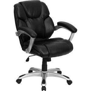 Leather Mid back Office Computer Chair Black