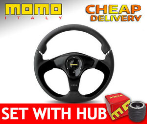 Momo Nero Steering Wheel Race Rally 350 Mm Set With Boss Kit Hub To Your Car