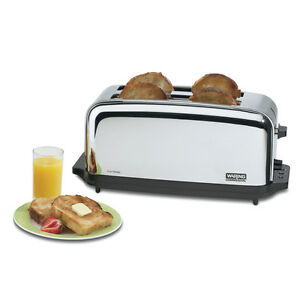 Waring Wct704 Toaster Chrome Commercial 4 Slice W Two 1 3 8in Slots