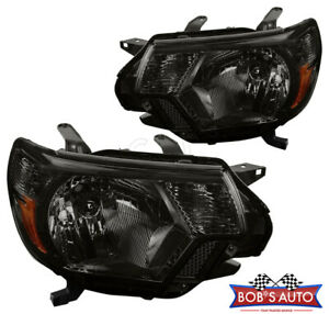 For Toyota Tacoma X Runner Sr5 2012 2015 Smoke Amber Replacement Headlights Pair