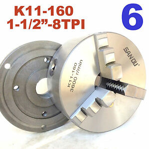 1 Pc Lathe Chuck 6 3jaw Self Centering W back Plate 1 1 2 8tpi K11 160 Sct 888