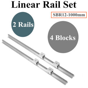 2x Sbr12 L1000mm Fully Supported Linear Rail Slide Guide 4x Sbr12uu Blocks