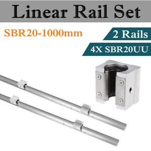 2 Set Sbr20 1000mm Fully Supported Linear Rail Shaft Rod With 4 Sbr20uu