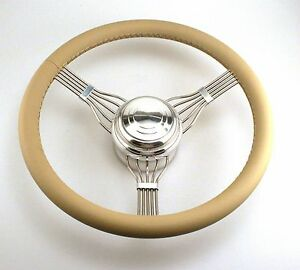 Tan Banjo Style Smooth Button Steering Wheel Stainless Steel 553tan Hot Rod