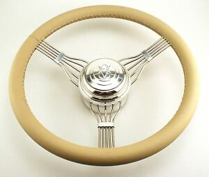 Tan Banjo Style V8 Horn Button Steering Wheel Stainless Steel 553tanv8 Hot Rod