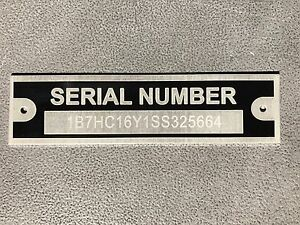 Rat Rod T Bucket Serial Number Tag Plate Chevy Ford Dodge Engraved Trailer Truck