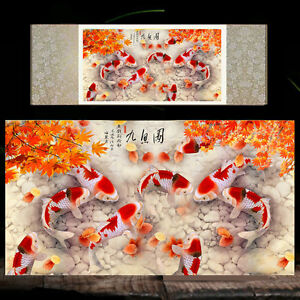 Chinese Silk Scroll Painting Fish Home Office Decoration