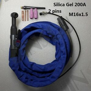 2 Pin Silica Gel Tig Torch 4m 13ft 200a Air Cooled Eastwood Tig200 Ac dc Welder