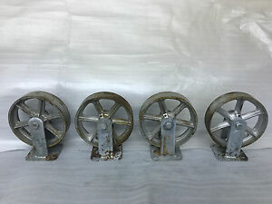 Lot Of Four 8 Inch Cast Iron And Steel Stationary Plate Casters New Old Stock