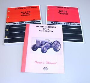 Set Massey Ferguson 35 Tractor Service Operator Parts Manual Owners Catalog