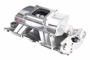 Polished Sbc Sheet Metal Fabricated Aluminum Intake Single Carb Chevy Tunnel Ram