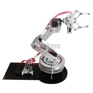 Silver 6dof Robotic Robot Arm Clamp Claw Swivel Rotatable Stand Mount Kit