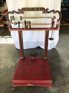 Early 1900 S Vintage Cast Iron 200 Lb Howe Platform Scale Excellent Condition