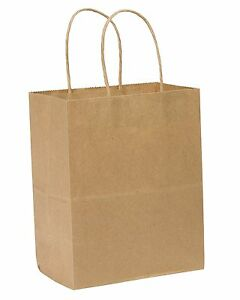 250pk Wholesale Paper Shopping Bags With Handles Brown Tempo Recycled Kraft