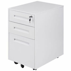 Rolling A4 File Cabinet Sliding Drawer Metal Office Organizer Storage White