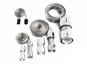 Chrome Braided Hose Sleeve Kit Cover Vacuum Fuel Line Radiator Heater Hose
