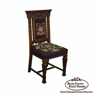 Antique 19th Century Carved Victorian Renaissance Needlepoint Side Chair