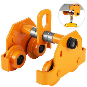 1 2 Ton Push Beam Track Roller Trolley Crane Lift Dual Wheels Garage Hoist