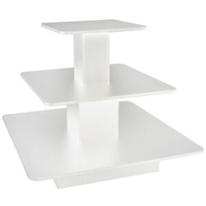 Rolling 3 Tier Display Table Square Boutique Clothing Store Fixture White New