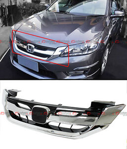 For 2013 2015 9th Gen Honda Accord Sedan Chrome Jdm Rs Style Front Grille Grill