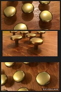 6 Knobs Pulls Round Antique Brass Tone Drawer Cabinet English Amerock Vintage