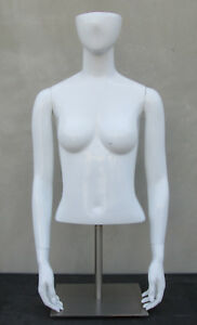 Abstract Fiberglass Glossy White Female Torso Mannequin Table Top Display Stand